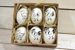 Veľkonočné vajíčka v krabici (6 ks v balení) VZOR 3. (16,5x5,5x15,5 cm)