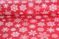 Vianočná bavlnená látka (š. 240 cm) - červená - biele vločky