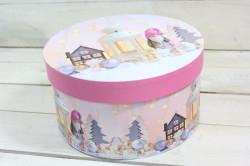 Vianočná darčeková krabica Škriatok - ružová (p. 21 cm, v. 11 cm)