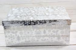 Vianočná darčeková krabica - strieborná (33x14x25,5 cm)