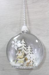 Vianočná ozdoba MIKULÁŠ  v zasneženom lese (12x13x4 cm)
