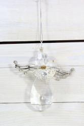 Vianočná ozdoba na zavesenie - anjel so striebornými krídľami (v. 10 cm)
