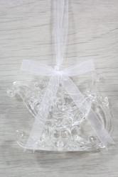 Vianočná ozdoba - plastové SANE s darčekmi - priesvitná (v. 8 cm)