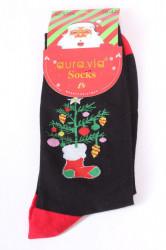 Vianočné bavlnené ponožky (SF5366) - Stromček - čierne
