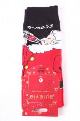 Vianočné bavlnené ponožky (SFP5371) - MIKULÁŠ 1. - čierno-červené