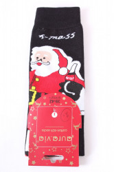 Vianočné bavlnené ponožky (SFP5371) - MIKULÁŠ 2. - čierne