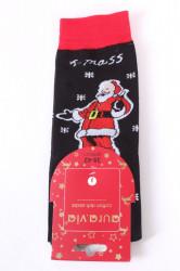 Vianočné bavlnené ponožky (SFP5371) - MIKULÁŠ 3. - čierne