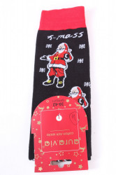 Vianočné bavlnené ponožky (SFP5371) - MIKULÁŠ 4. - čierne