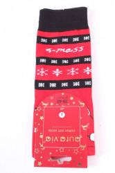 Vianočné bavlnené ponožky (SFP5371) - MIKULÁŠ A VLOČKY - čierno-červené