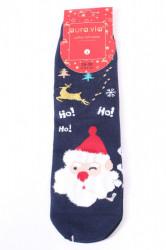 Vianočné bavlnené ponožky (SNP5128) - Hohoho Mikuláš - tmavomodré