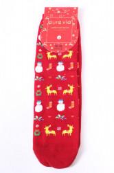 Vianočné bavlnené ponožky (SNP5128) - SOBY A SNEHULIAKY - bordové
