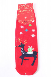 Vianočné bavlnené ponožky (SNP5128) - STROMČEKY A SOB - červené