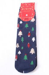 Vianočné bavlnené ponožky (SNP5128) - STROMČEKY - modré