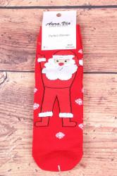 Vianočné bavlnené ponožky (SNP5686) - Mikuláš a vločky - červené
