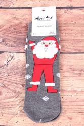 Vianočné bavlnené ponožky (SNP5686) - Mikuláš a vločky - sivé