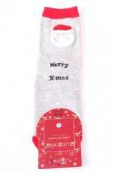Vianočné bavlnené ponožky (SNP5687) - MERRY X-MAS - bledosivé
