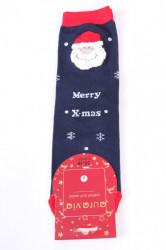 Vianočné bavlnené ponožky (SNP5687) - MERRY X-MAS - tmavomodré