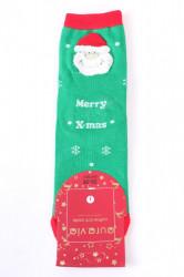 Vianočné bavlnené ponožky (SNP5687) - MERRY X-MAS - zelené