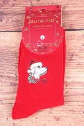Vianočné bavlnené ponožky (SNX5711) - MERRY CHRISTMAS PES - červené
