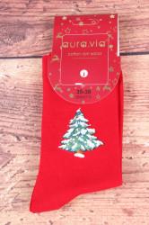Vianočné bavlnené ponožky (SNX5711) - Stromček - červené