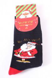Vianočné bavlnené ponožky THERMO (SFV5661) - Hohoho - červeno-čierne