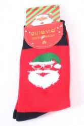 Vianočné bavlnené ponožky THERMO (SFV5661) - Mikuláš - čierno-červené
