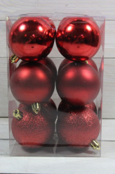 Vianočné gule (12 ks) - červené (p. 5 cm)