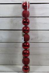Vianočné gule (9 ks) - červené (p. 6 cm)