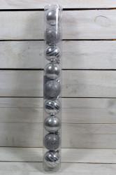 Vianočné gule (9 ks) - strieborné (p. 6 cm)