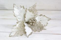 Vianočný dekoračný kvet - biely (v. 28,5 cm)