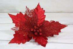Vianočný dekoračný kvet - červený (v. 28,5 cm)