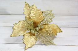 Vianočný dekoračný kvet - zlatý (v. 28,5 cm)