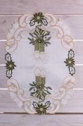 Vianočný obrus (30x45 cm) VZOR 3.  - zeleno-biely