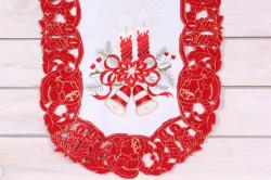 Vianočný obrus (40x90 cm) - 5649 - červeno-biely