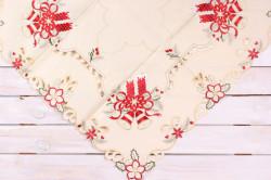 Vianočný obrus (85x85 cm) - 5647 - červeno-béžový