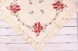Vianočný obrus (85x85 cm) - 5655 - červeno-béžový
