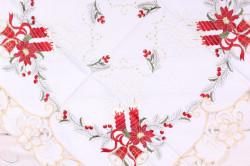 Vianočný obrus (85x85 cm) - 5655 - červeno-biely