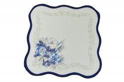 Vianočný obrus - biely s modrým lemom 35x35 cm