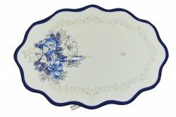 Vianočný obrus - biely s modrým lemom 48x33 cm
