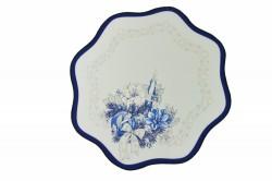 Vianočný obrus - biely s modrým lemom - priemer 35 cm