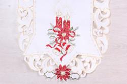 Vianočný obrus VZOR 11. (40x90 cm) - biely