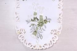 Vianočný obrus VZOR 8. (40x90 cm) - biely