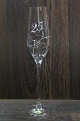 Výročný pohár na 25. narodeniny so swarovski kryštáľmi ŠAMPANSKÉ 2.