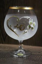 Výročný pohár na 40. narodeniny BRANDY - biely