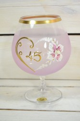 Výročný pohár na 45. narodeniny - BRANDY - ružový