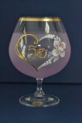 Výročný pohár na 50. narodeniny - BRANDY - ružový (v. 16 cm)