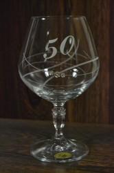 Výročný pohár na 50. narodeniny BRANDY so swarovski kryštáľmi
