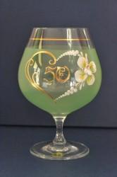 Výročný pohár na 50. narodeniny - BRANDY - zelený (v. 16 cm)
