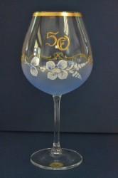 Výročný pohár na 50. narodeniny - NA VÍNO - modrý (v. 23 cm)