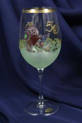 Výročný pohár na 50. narodeniny NA VÍNO s poľovníckym motívom - zelený (450 ml)